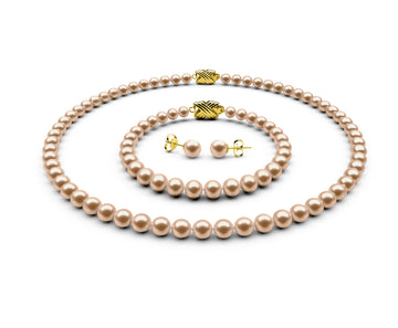 5.5-6mm AA Peach Freshwater Complete Set