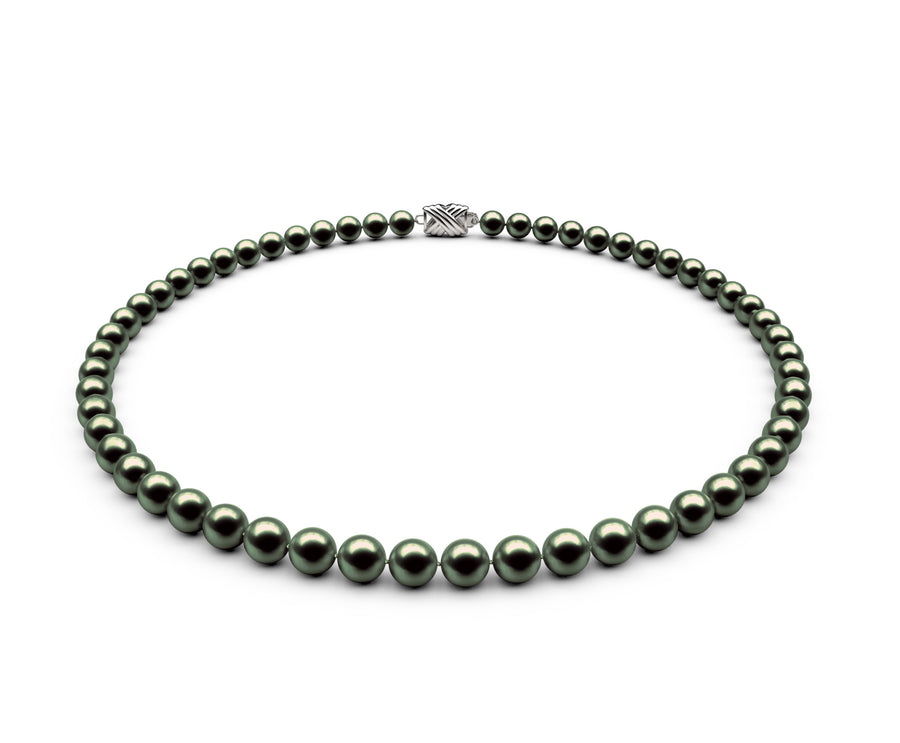 6-6.5mm AA Black-Green Freshwater Necklace