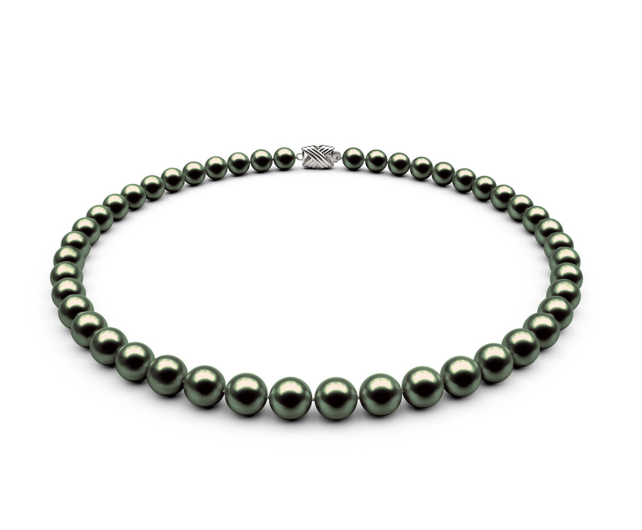 7.5-8mm AA Black-Green Freshwater Necklace