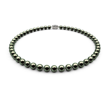 7-7.5mm AA Black-Green Freshwater Necklace