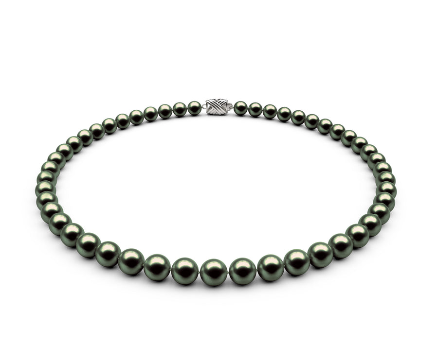 7-7.5mm AAA Black-Green Freshwater Necklace