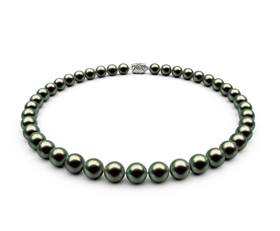 8.5-9mm AA Black-Green Freshwater Necklace