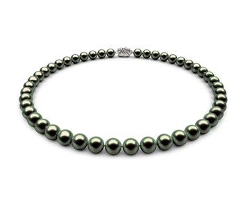 8-8.5mm AA Black-Green Freshwater Necklace