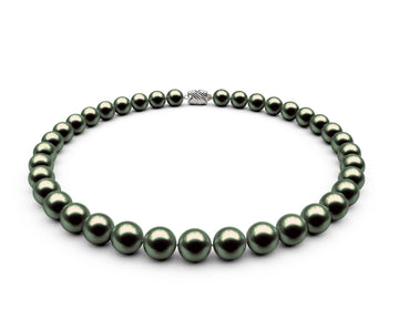 9.5-10mm AAA Black-Green Freshwater Necklace