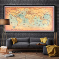 Vintage Blue World Map Wall Poster - yourdecordiary