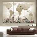 Vintage Brown World Map Wall Poster - yourdecordiary