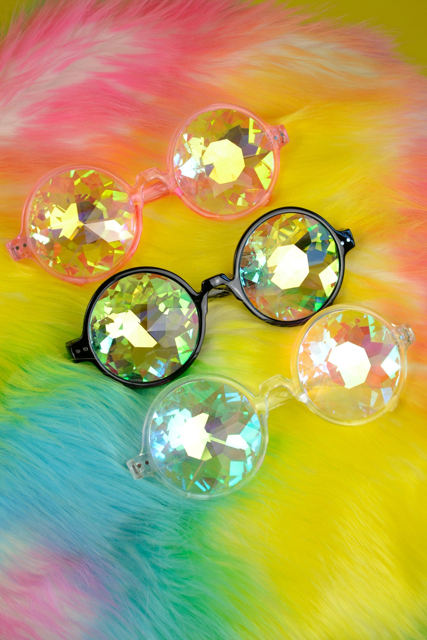 Kaleidoscopic rave sunglasses