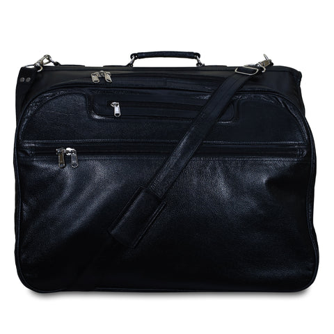 Leather Suit Carrier Bag - Black