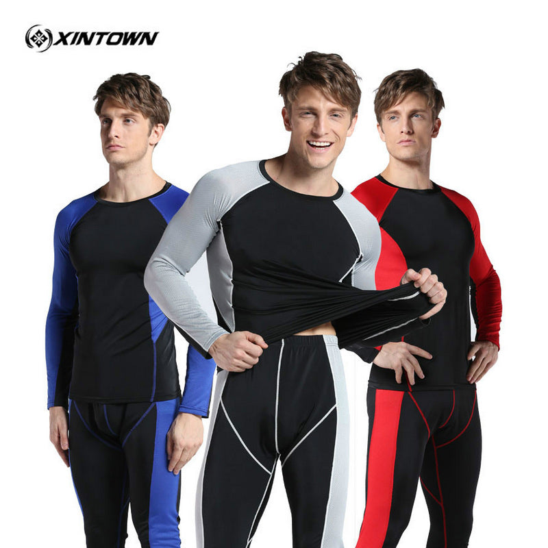 XINTOWN New Fitness Men's Gym Clothes Set suits For bodybuilding Running Pants Sports Leggings + Long Sleeve Tshirts sports wear