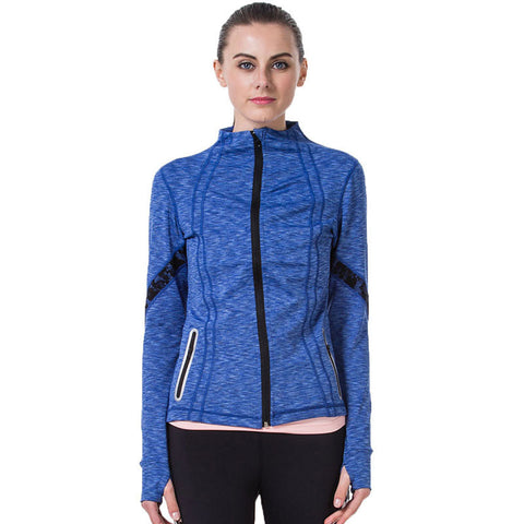 Women Yoga Jacket Fitness Running Shirt For Women Sportswear Elastic Tight Gym Roupa de Academia Zipper Fitness Clothes