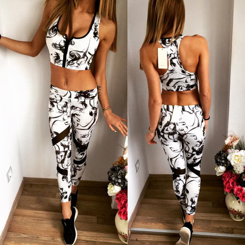 Women Yoga Sets Fitness Zipper Push Up Bra+Leggings