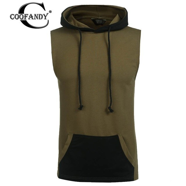 COOFANDY Men Casual Drawstring Patchwork Sleeveless Center Roomy Pocket Hoodie Drawstring design with center roomy pocket