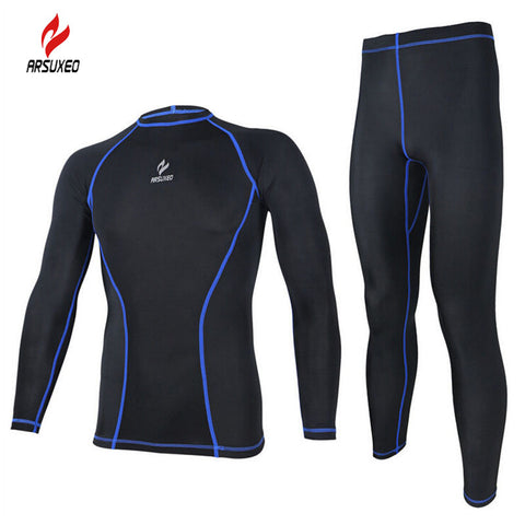 ARSUXEO Tight Running Clothes Cycling Long Sleeve Jersey Set Wicking Ciclismo Ropa MTB Clothing Fitness Long Jersey Sets For Men