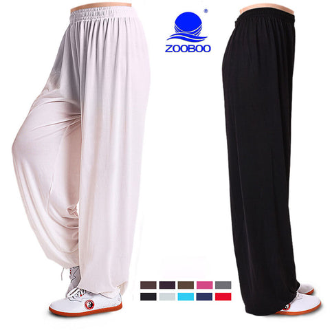 Yoga Pants Fitness Clothing Gym Exercise Wushu Tai Chi Kungfu For Women & Men Sports Pants White Blue Clothes