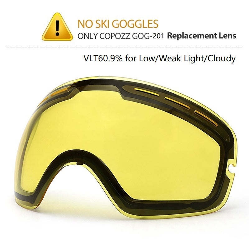 COPOZZ Brand Original Brightening lens for ski goggles Night of Model GOG-201 Yellow Lens For weak Light tint Weather Cloudy