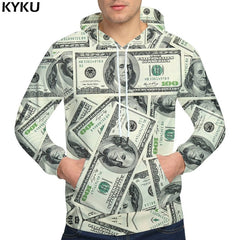 KYKU Brand Dollars Hoodies Money Sweat shirt Funny 3d hoodies Hip Hop Hoodie Men Cool 2018 Hoody