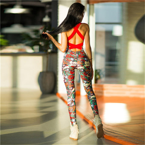 Floral Print Padded One Piece Sexy Yoga Gym Suit
