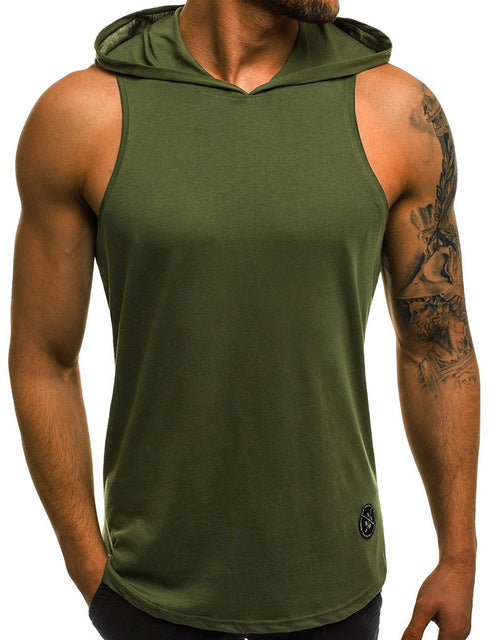 Men Bodybuilding Cotton Sleeveless Hoodie Tank Top
