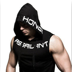 Mens Sleeveless Muscle Cool Running Jackets Gym Fitness Hoodie  tops