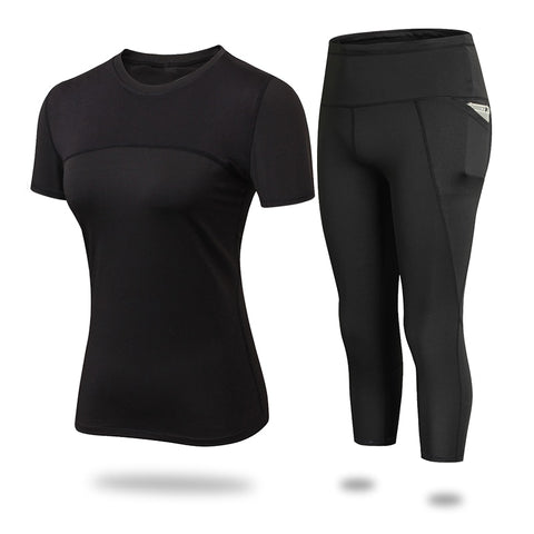 Short sleeve sport top and Pants Sets