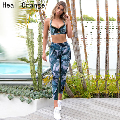 Women Sexy Gym Clothing Suit Floral Print Yoga Set Fitness Bra+Pant