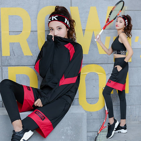 VERZY 5 in 1 Yoga Suit Running Gym Women Sportswear Solid Pathwork Letters Plus Breathable Body Building Sports Clothing Fitness