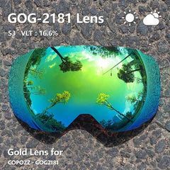 COPOZZ Original Magnetic Lenses for ski goggles GOG-2181 Lens Anti-fog UV400 Spherical Ski glasses snow Snowboard goggles