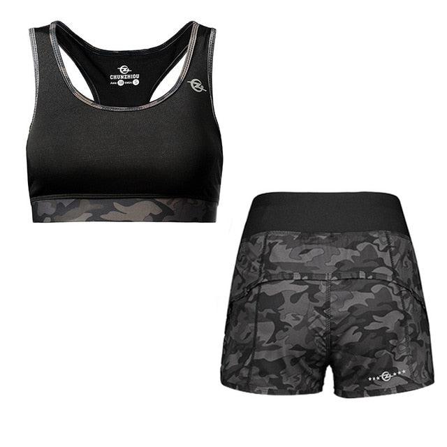 Women Polyester Quick Drying Yoga Suit Fitness Sportswear Workout Sweat Wicking Sports Running Camouflage Gym Clothing