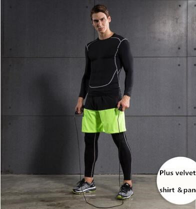 Mens fall and winter long sleeves compression tights outdoor running clothing sports suit gym fitness tracksuits plus velvet