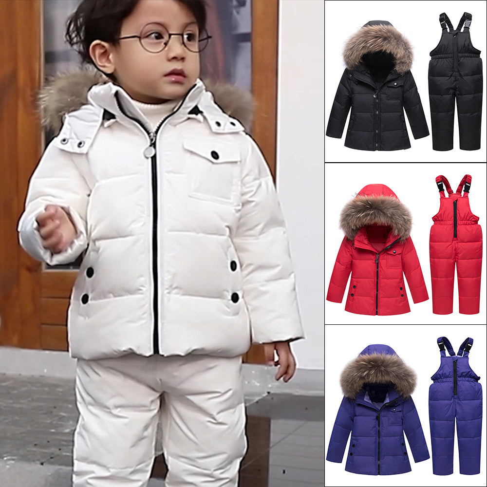 Winter Suits For Boys Girls Boys Ski Suit Children Clothing Set Baby Duck Down Jacket Coat + Overalls Warm Kids Snowsuit