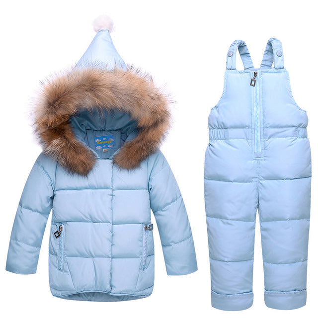 winter Children clothing set baby Girl Ski suit sets Boy Outdoor snow suit Kids down coats Jackets+trousers winter suit