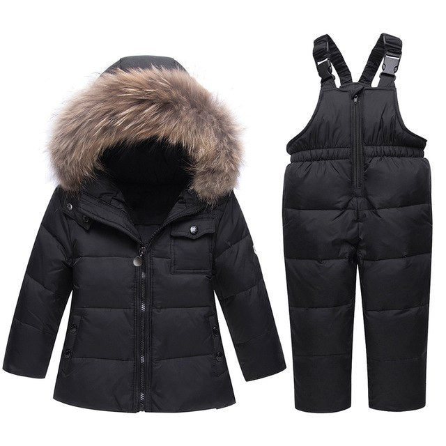New Winter Children's Fur Hooded Clothing Set Baby Ski Suit Girl Clothes Boys Parka Real Fur Down Jackets Coat Snow Wear