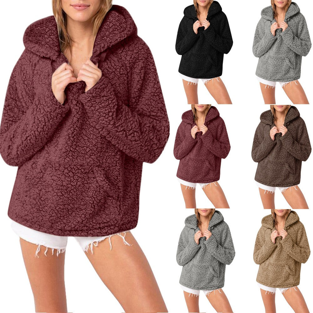 Women Plus Size Casual Tops Hooded Parka Outwear Cardigan Blouse Sweater