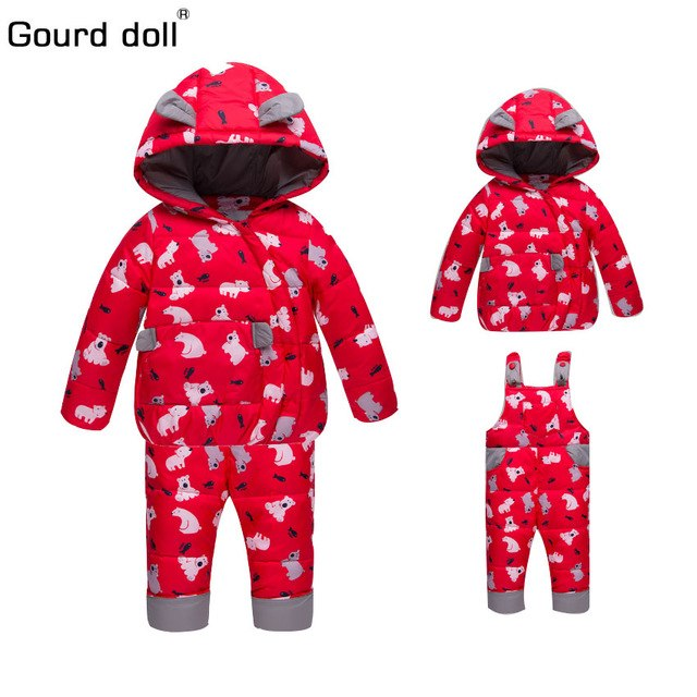 Winter Suits for Boys Girls 2018 Boys Ski Suit Children Clothing Set Baby Duck Down Jacket Coat + Overalls Warm Kids Snowsuit