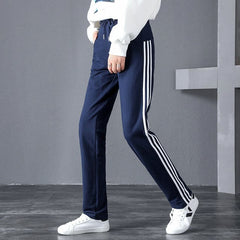 2018 Plus Size Women Sport Running Trousers Cotton Pants Comfortable Loose Pant Training Gym Clothing Knitted Pants With Stripes