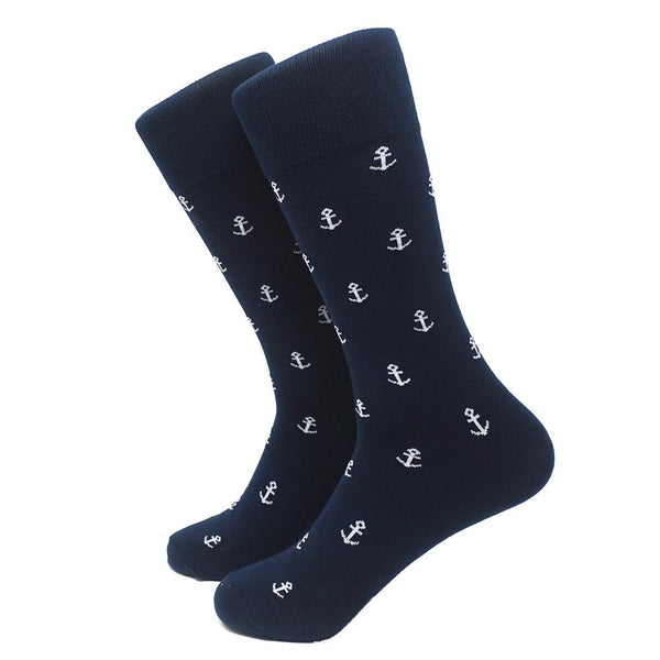 Anchor Socks - Men's Mid Calf - White on Navy