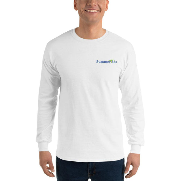 My Summers are Tied to Martha's Vineyard Blue and Green with Pink Block Long Sleeve T-Shirt - Multiple Colors