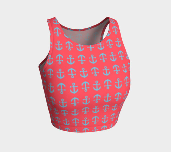 Anchor Toss Athletic Crop Top - Light Blue on Darker Coral