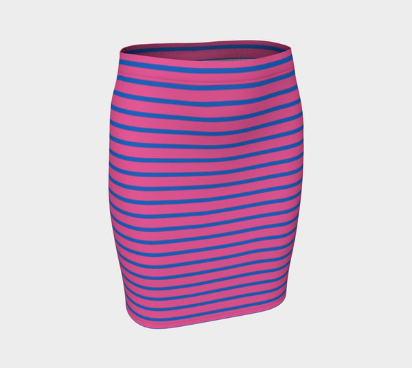 Striped Fitted Skirt - Blue on Pink