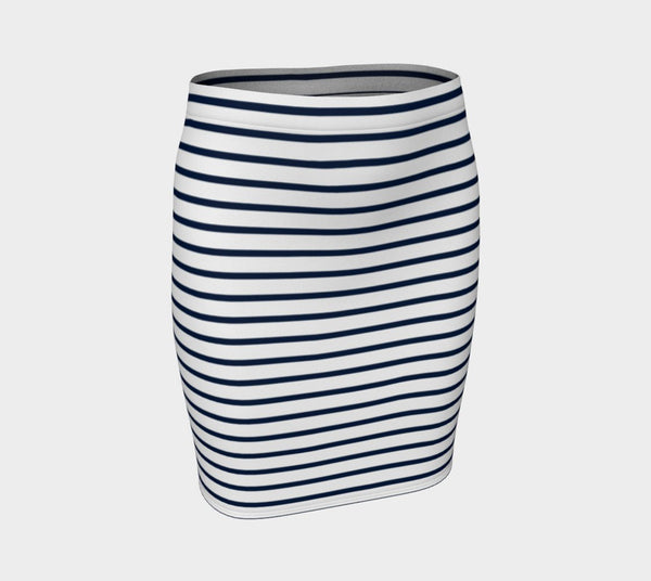 Striped Fitted Skirt - Navy on White