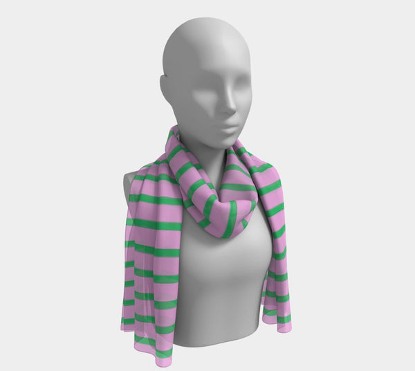 Striped Long Scarf - Green on Pink
