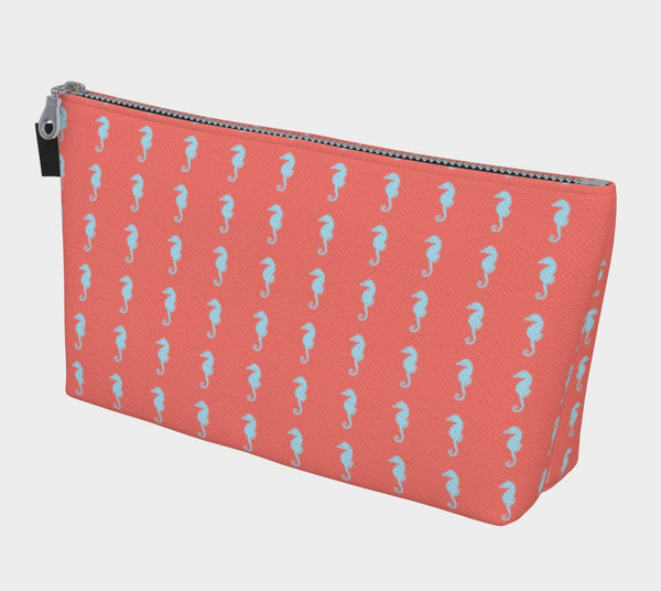 Seahorse Makeup Bag - Light Blue on Coral