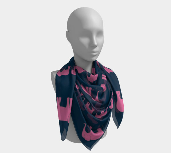 Elephant Square Scarf - Pink on Navy