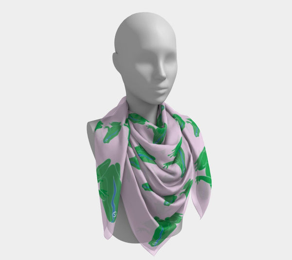 Frog Square Scarf - Green on Pink