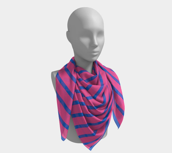 Striped Square Scarf - Blue on Pink