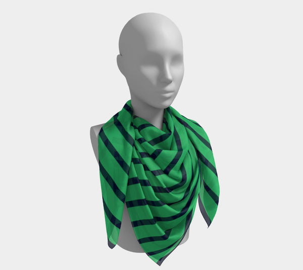 Striped Square Scarf - Navy on Green