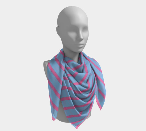 Striped Square Scarf - Pink on Light Blue