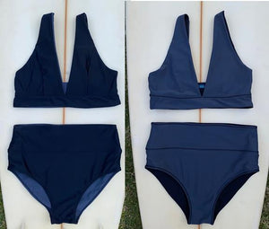 Sustainable bikinis for ocean lovers. Reversible bikini  with high waist. Classic black on side A and charcoal for those days that you don't feel like wearing black on side B.