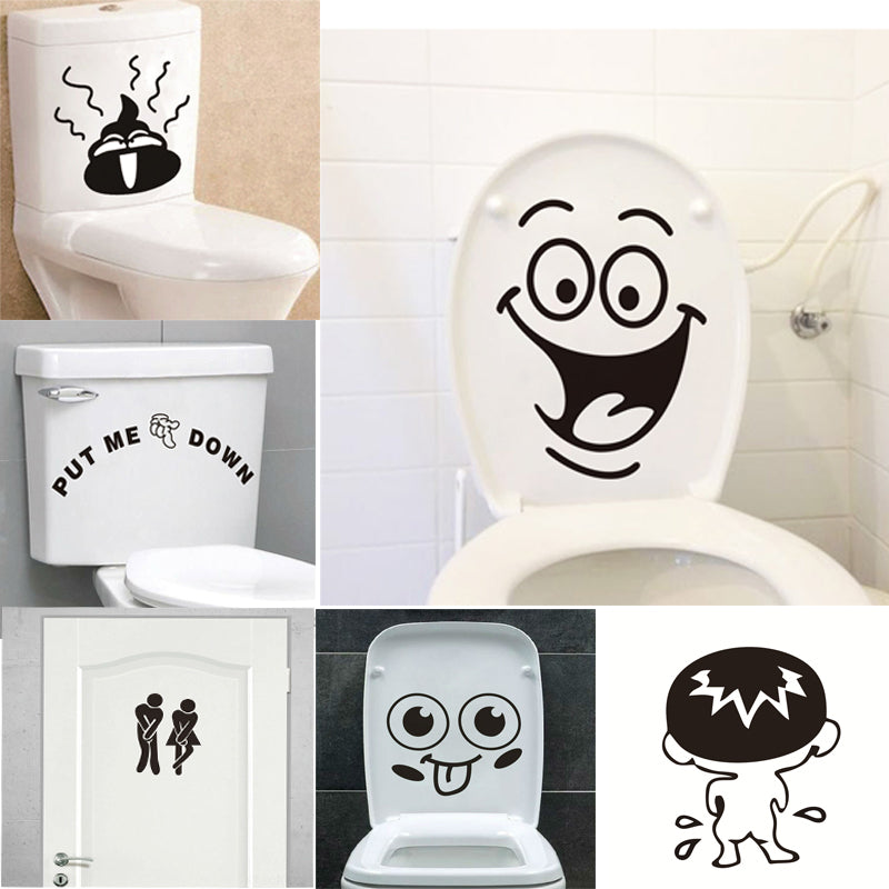 Funny Smile Bathroom Wall Stickers Toilet Home Decoration Waterproof
