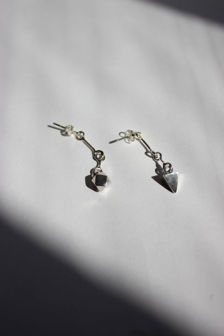 Miss-match pyramid, cuboctahedron drop earrings